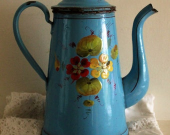 French Vintage Enamelware Blue Coffee Pot with Nasturtiums