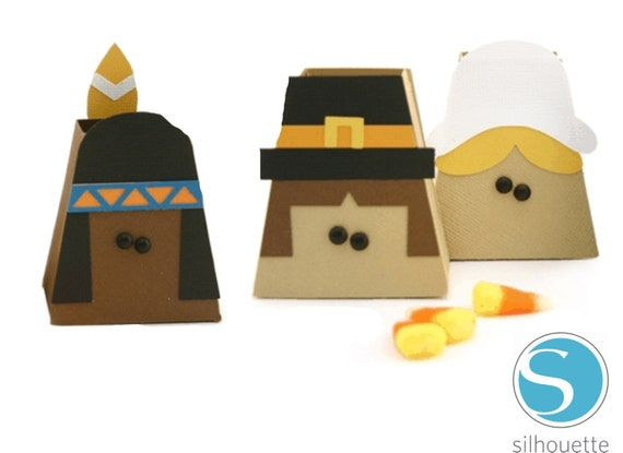 Pilgrims & Indian Treat Boxes Digital  Cut Files for Silhouette Cameo Includes STUDIO (.studio) files - Layered Images for cutting machines