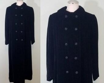Vintage 1950s-1960s Velvet Opera Coat / Full Length Dress Jacket / Peerless Camellia Room / Modern Size Small S to Medium M