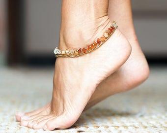 Citrine Anklet // Citrine Ankle Bracelet  // Beach Anklets // Bracelet Ankle // Summer Anklet // Summer Jewelry // Anklet For Women