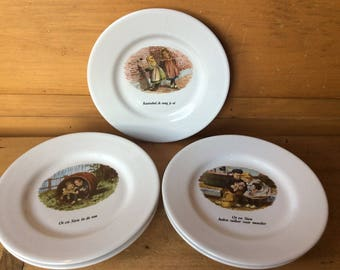 Vintage Dutch Children's Small Plates From Storybooks from 1900