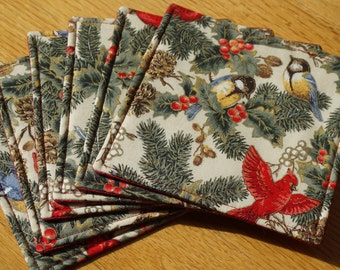 Bird Fabric Coasters, Cardinal Coasters, Set of 6, Reversible, Holly and Evergreen, Everyday Use Coasters, Beverage Coasters, Drink Mat, Red