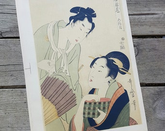 Lithograph from the print from Kitagawa Utamaro vintage n1
