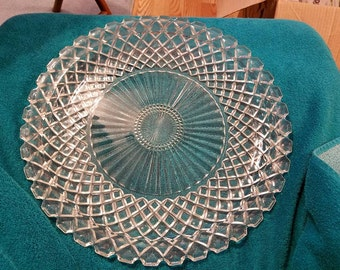 14 Inch Clear Glass Platter Diamond Cut