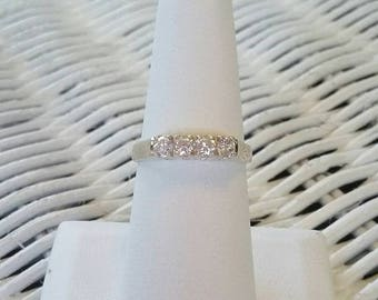 Anniversary/Wedding style 925 sterling silver and round rhinestone band ring