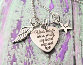 Your Wings Were Ready But My Heart Was Not Memorial Jewelry~ Stillborn~ Memorial Necklace~ Funeral Gift~ Infant Loss Jewelry