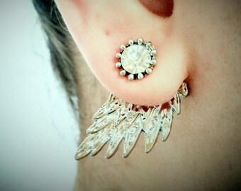 Silver Wings Earrings, Angel Wings Earrings, Two in One, Gift for Her, Valentine Gift, Eagle wings earrings, Fantastic Jewellery.