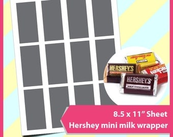"Instant Download Hershey Candy Bar Wrapper Template, PSD, PNG and SVG Formats,  8.5x11"" sheet,  Printable 067"