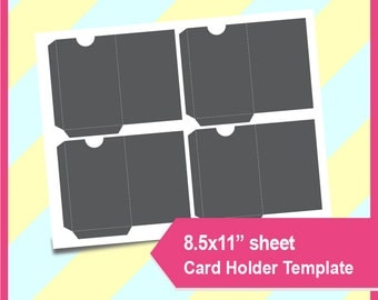"""Instant Download, gift card holder, business card holder Template, PSD, PNG and SVG Formats,  8.5x11"""" sheet,  Printable 113"""