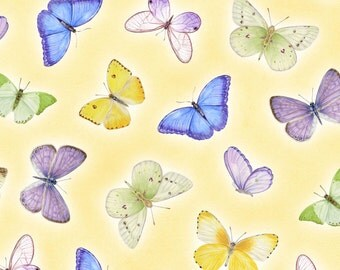 Pretty as a Pansy - Per Yd - Henry Glass by Jane Shaskey of Jane's Garden - Butterflies on Yellow