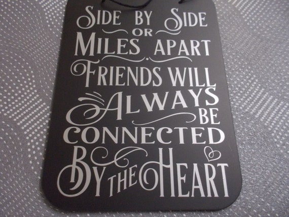 Custom made friend wall hanging plaque distance keeps us close saying