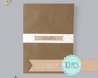 Envelope / kraft brown / 13,3 x 18,4 cm / 10 pieces