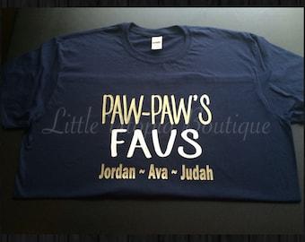 Paw Paw's Favs, grandfather shirt, grandkids shirt
