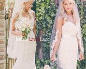 Fingertip partial lace veil1 tier lace fingertip wedding veilLace half way veil in fingertipShort Alencon Lace Bridal veil 625
