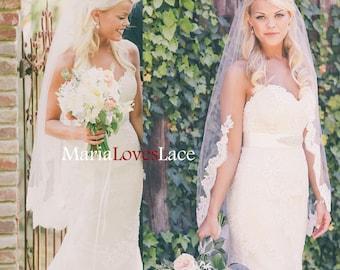 fingertip partial lace veil 1 tier lace fingertip wedding veil lace half way veil