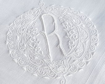 LETTER R monogram white wedding handkerchief / EXCEPTIONAL vintage bridal hankie, finely embroidered initial R monogram / something old gift