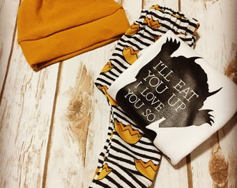 Where The Wild Things Are- Baby Coming Home Clothing Set- Ill Eat You Up Onesie- First Birthday Wild One