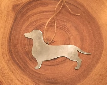 Steel Dachshund Christmas Ornament