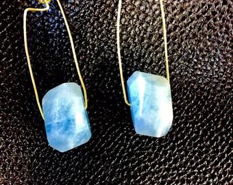 Aquamarine Rectangle Geometric Threader Crystal Earrings
