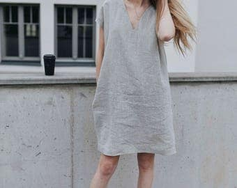 Dress, linen, loose dress, tunic, eco, friendly, natural color, with pockets