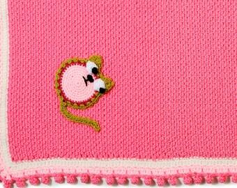 Colorblock Crochet Blanket with Cat applique, baby blanket, crib blanket, baby gift, baby girl blanket, crochet blanket