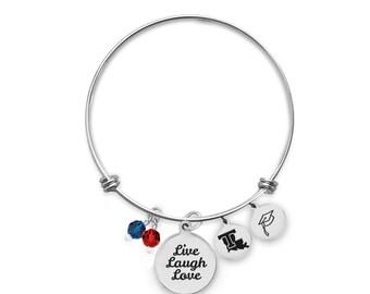 Louisiana Tech Bulldogs Bangle Bracelet | Custom College Bracelets | Graduation Bracelets | Inspirational Bracelets
