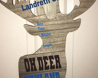 Deer birth announcement, oh deer im here, hospital door hangers, baby announcement