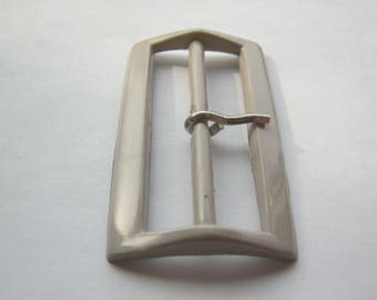 8 piece belt buckles with pin beige, rectangle ca. 58/34 mm, bridge ca. 50 mm, new, Lübeck button Manufactory