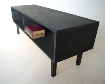 Mid Century Modern Media Console | Media Cabinet | Bookcase | TV Stand | Coffee Table | 45 rpm Vinyl Record Storage