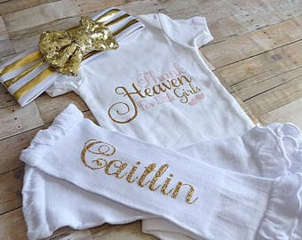 Baby Girl Clothes,Thank Heaven for Little Girls, Birthday Outfit, Sparkle Baby Bodysuit, Sequin Bow Headband, Personalized Baby Clothes