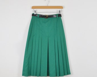 Vintage Green Pleated Skirt  |  Vintage Midi Skirt   |  Vintage Secretary Skirt