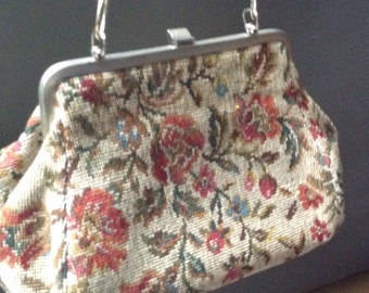1950 old vintage tapestry purse fabric purse