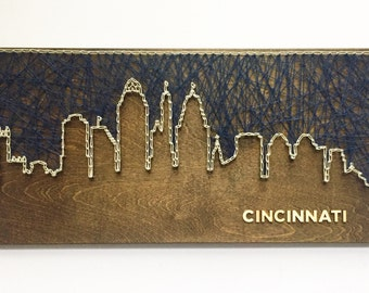 Cincinnati Skyline String Art - Cincinnati Art - Ohio Art