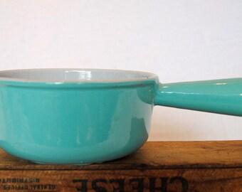 Rare Vintage 1950s Le Creuset Teal Enamel Cast Iron Sauce Pan Size 16