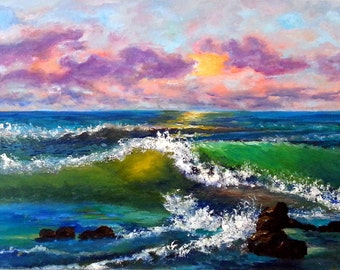 """Marine oil painting — Marine Landscape Oil Painting On Canvas By S.M. Iglesias. Artwork,Size: 18.1"""" x 10.6"""" inches (46 cm x 27 cm)"""
