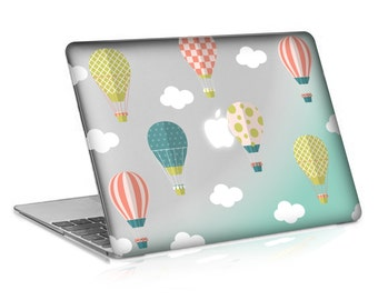 Macbook Rubberized Hard Case, Hot Air Ballons Design with Clear Bottom Case