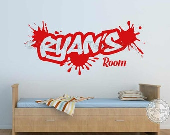 Graffiti Style Personalised Name Wall Sticker Boy Girl Children Bedroom Playroom Wall Art Decal