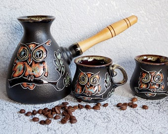Ceramic coffee set Owl Turkish coffee pot Ceramic turk & 2 cups Unique gift Wife gift Daughter gift Birthday Wedding gift ideas Fathers day