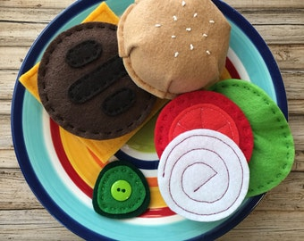 play food montessori toy, stacking toy burger, felt play food hamburger set, pretend play burger, dramatic play burger, pretend food