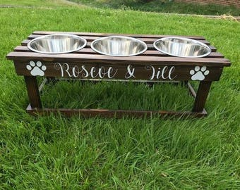 Stained elevated feeder/ dog bowl stand with 3 bowls