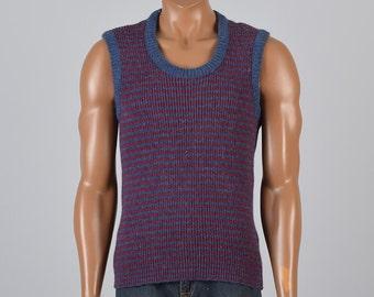 Small 1960s Knit Vest 60s Sweater Vest  Wool Knit Vest Ribbed Knit Sweater Vest Striped Vest Winter Vintage Wool Normcore Sweater