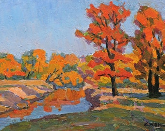 VINTAGE IMPRESSIONIST ART Old Original Oil Painting by Soviet artist V.Kolesnik 1961 Autumn Forest Landscape, Waterscape, Trees on the shore