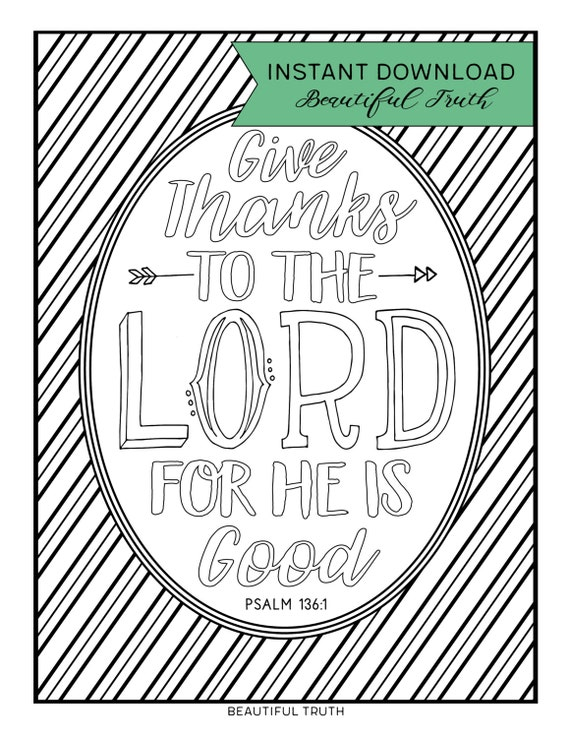 Coloring Page Give Thanks Instant Download Printable
