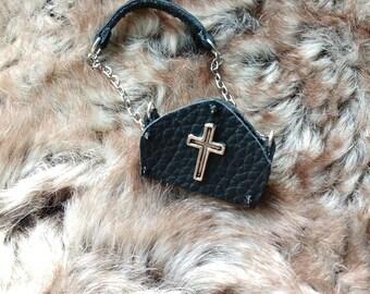 Miniature Leather Handbag - Doll Accessories - Gothic Handbag - Black Leather Bag - Doll House Miniatures - Leather Purse - Leather Bag