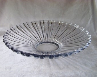 Vintage Large Heavy Pressed Glass Serving Bowl with Scalloped Edge