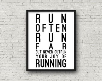 Run Often Run Far, Running Quotes, Motivational Quotes, Inspirational Wall Art, Fitness Motivation, Cross Country, XC, Track And Field, Gift
