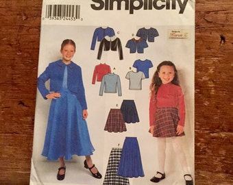 Simplicity Sewing Pattern 9459 Size HH 3-6 Girls Jacket, Skirt and Top