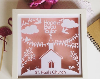 Personalised Christening gift, baptism gift, christening papercut, christening frame, church papercut, floating frame, box frame, new baby
