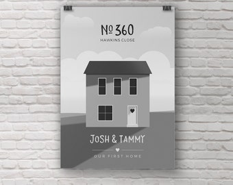 Home illustration, Custom house portrait, Personalised first home gift, House warming gift, New home, Family home, Where we live drawing
