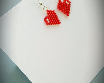 Handmade beaded peyote earrings Miyuki earrings Heart earrings Valentine day earrings